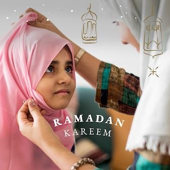Postagem de mídia social ramadan kareem com saudação