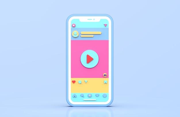 Postagem de vídeo instagram em redes sociais renderização em 3d