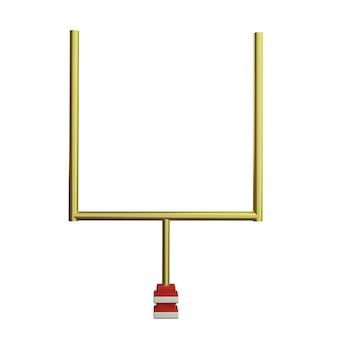 Poste da baliza de futebol americano 3d em fundo branco