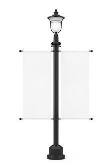 Poste de lâmpada de rua vintage retrô com bandeira de maquete promocional de publicidade branca sobre um fundo branco. renderização 3d