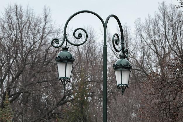 Poste de luz no parque, poste de luz antigo, lanterna velha na natureza do outono