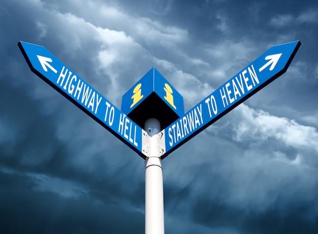 Poste de rua com placas de caminho do inferno e do céu