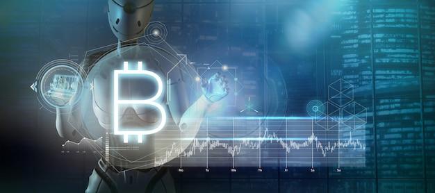 Pôster abstrato com um robô sobre bitcoin e criptomoedas renderização em 3d