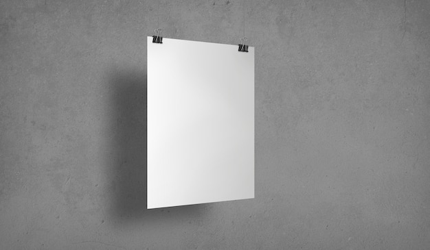Pôster branco isolado com clipes