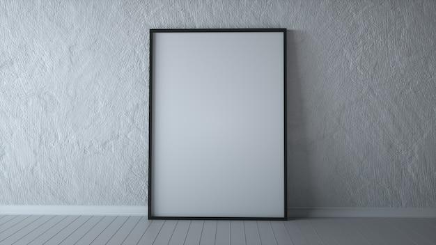 Pôster branco no chão com moldura em branco