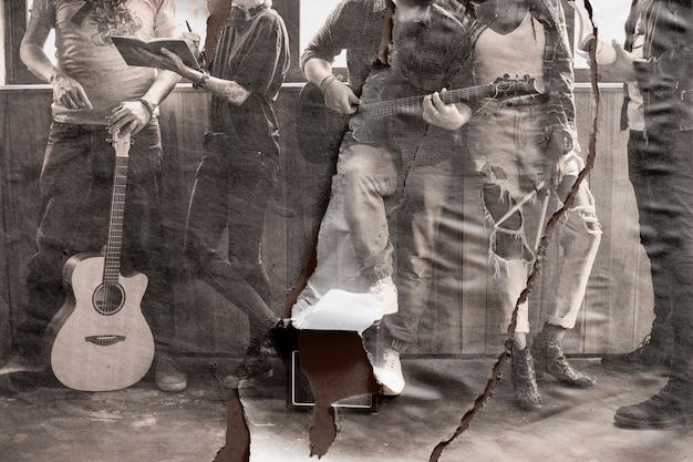 Pôster de banda de música sépia com textura de papel rasgado