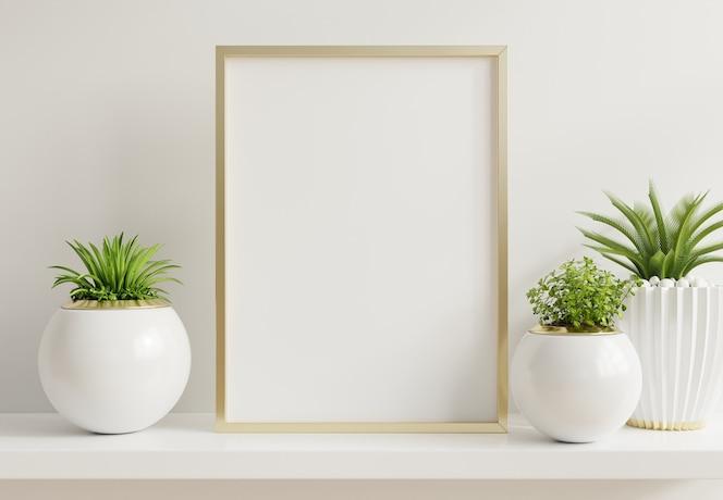 Pôster de interior para casa simulado com armação de metal vertical e plantas ornamentais em vasos