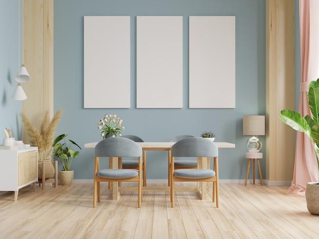 Pôster de maquete em design de interiores de sala de jantar moderna com paredes azuis