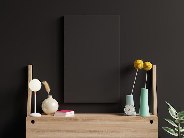 Pôster de maquete preto no interior da sala de estar em uma parede escura vazia de fundo. renderização 3d