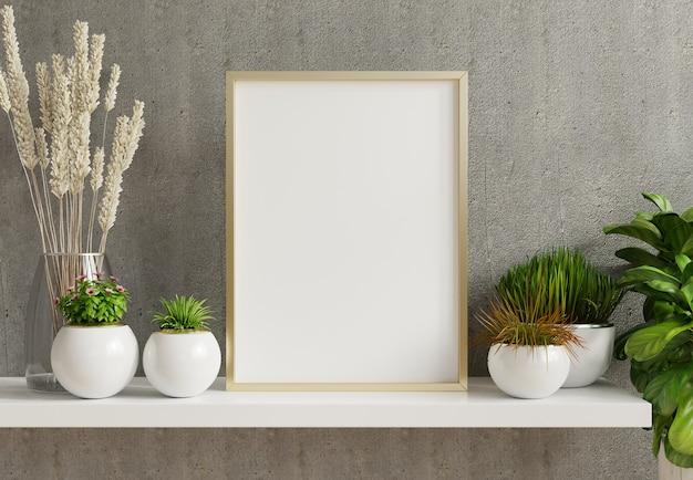Poster interior da casa simulado com armação de metal vertical com plantas ornamentais em vasos no fundo vazio da parede de concreto.