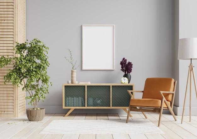 Pôster interno simulado com moldura de madeira vazia horizontal, estilo escandinavo, renderização em 3d