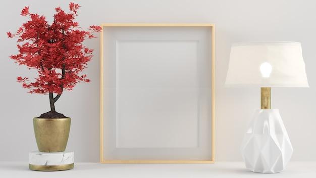 Pôster interno simulado com moldura de madeira vazia vertical cercada por planta vermelha e lâmpada renderização em 3d