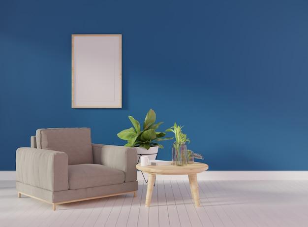 Poster mock up com dois quadros verticais na parede bege