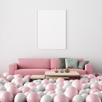 Poster mockup interior sala de estar decoração dia dos namorados