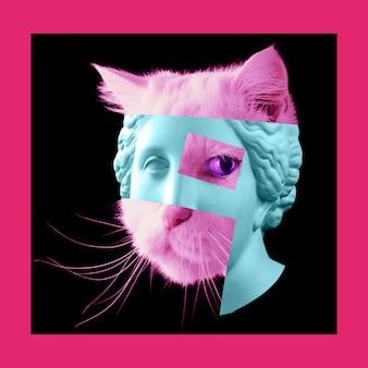 Pôster moderno com cabeça de estátua antiga e detalhes do rosto de um gato vivo. colagem de arte contemporânea