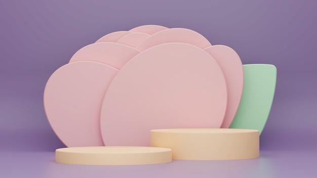 Pôster online em formas geométricas coloridas em tons pastéis e 2 camadas de pódio para suas marcas