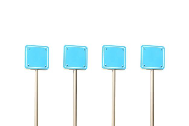 Postes de sinalização de tráfego azuis vazios isolados no branco