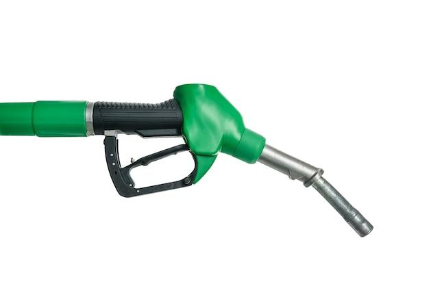 Posto de gasolina. bico de bomba de combustível isolado no branco.