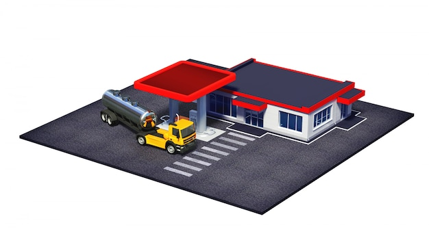 Posto de gasolina com caminhão de combustível e mini-mercado ou cafeteria