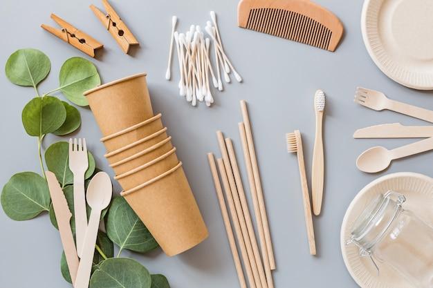 Postura plana com produtos ecológicos naturais
