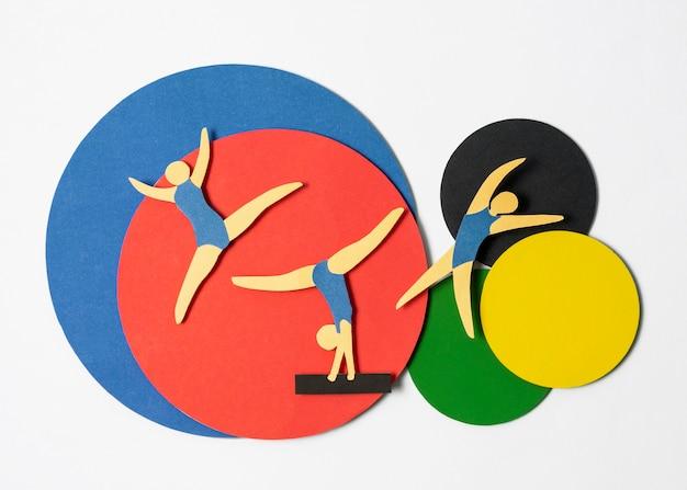Postura plana de atletas estilo papel