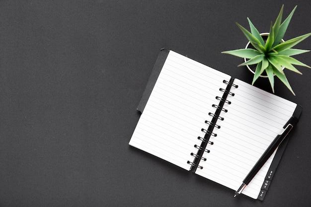 Postura plana de caderno e planta com espaço de cópia