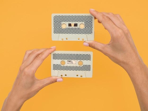 Postura plana de cassete com espaço de cópia