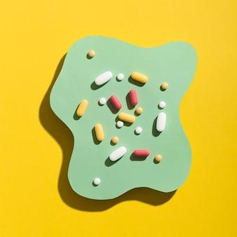 Postura plana de comprimidos em forma