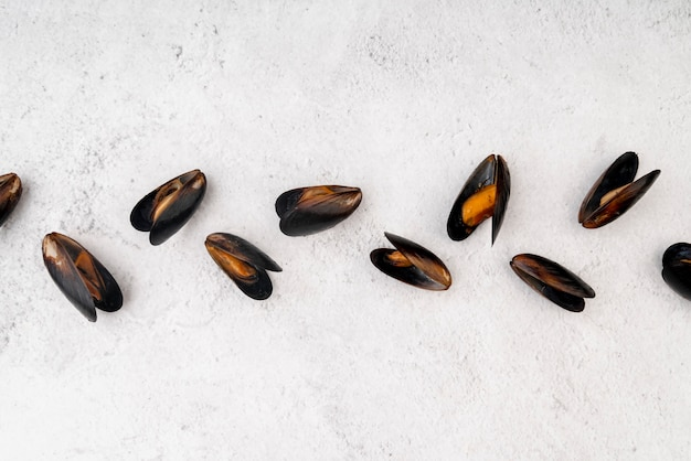 Postura plana de deliciosos mexilhões cozidos