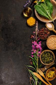 Postura plana de ervas medicinais selvagens