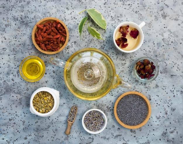 Postura plana de especiarias e ervas medicinais