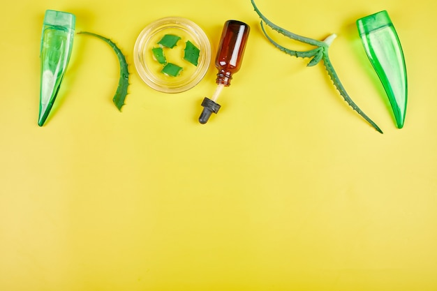 Postura plana de gel de aloe vera de planta de ingredientes naturais de cuidados da pele caseiros, skinimalismo, beleza lenta na parede amarela, espaço de cópia.