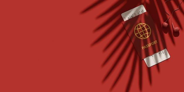 Postura plana de identificação de passaporte, passagem e fones de ouvido