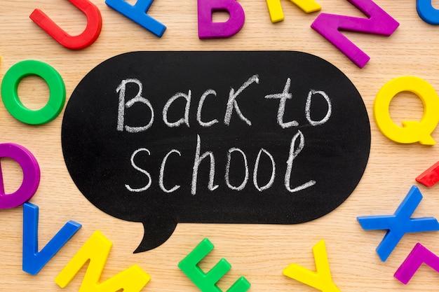 Postura plana de itens essenciais da escola com letras