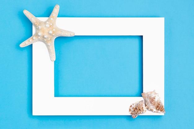 Postura plana de moldura com estrela do mar e conchas do mar
