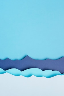 Postura plana de ondas do mar de papel