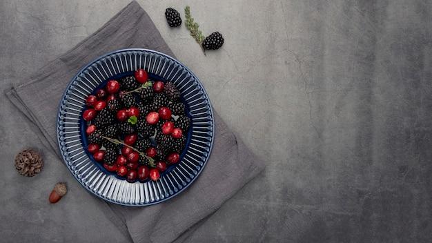 Postura plana de prato com cranberries e amoras