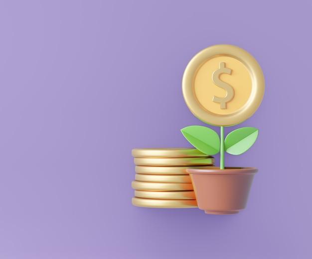 Pote 3d da planta com flor de moeda de ouro e pilha de moedas no fundo roxo. renderização de ilustração 3d.