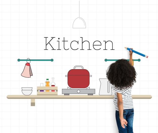 Pote de decoração de balcão de comida de cozinha