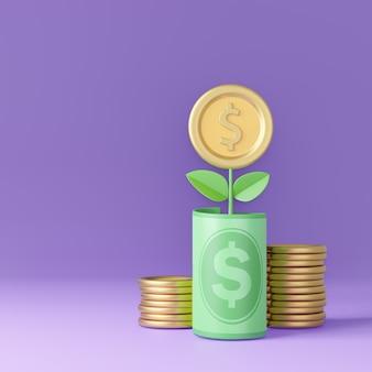 Pote de dinheiro 3d da planta com flor de moeda de ouro e pilha de moedas no fundo roxo. renderização de ilustração 3d.