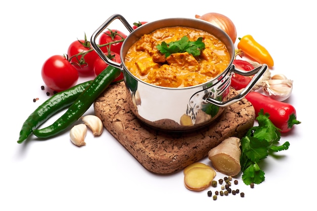 Pote de frango ao curry tradicional e temperos