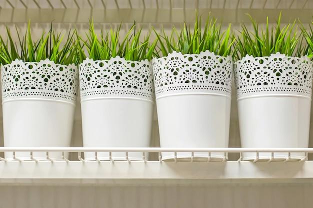 Potenciômetros brancos da grama artificial para a decoração home.