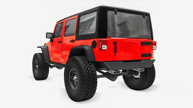 Potente suv afinado em vermelho para expedições em montanhas, pântanos, deserto e qualquer terreno acidentado. rodas grandes, suspensão de levantamento para obstáculos íngremes. renderização 3d.