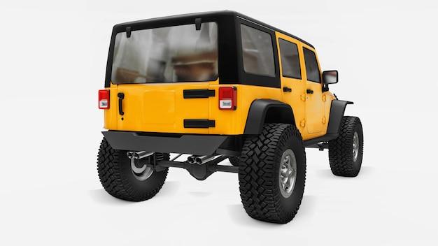 Potente suv amarelo afinado para expedições em montanhas, pântanos, deserto e qualquer terreno acidentado. rodas grandes, suspensão de levantamento para obstáculos íngremes. renderização 3d.
