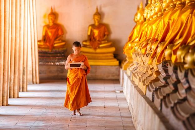 Pouco novato ler e estudar lousa com engraçado no antigo templo