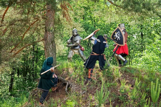 Poucos cavaleiros em armadura estão lutando