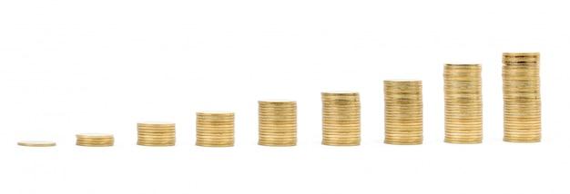 Poupança, aumentando colunas de moedas de ouro