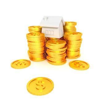 Poupar dinheiro para depósito em casa. renderização em 3d.