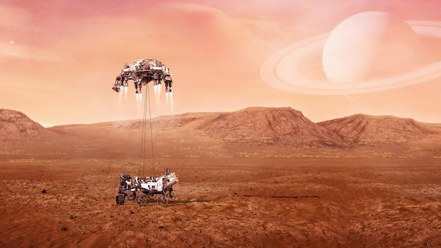 Pouso do mars rover na superfície do planeta vermelho.