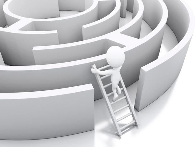 Povos 3d brancos em um labirinto com escadas brancas.